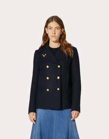 Drill Drap Peacoat with Gold V Detail