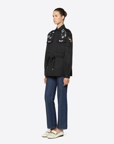 Chino Gabardine Peacoat With Embroidered Butterflies