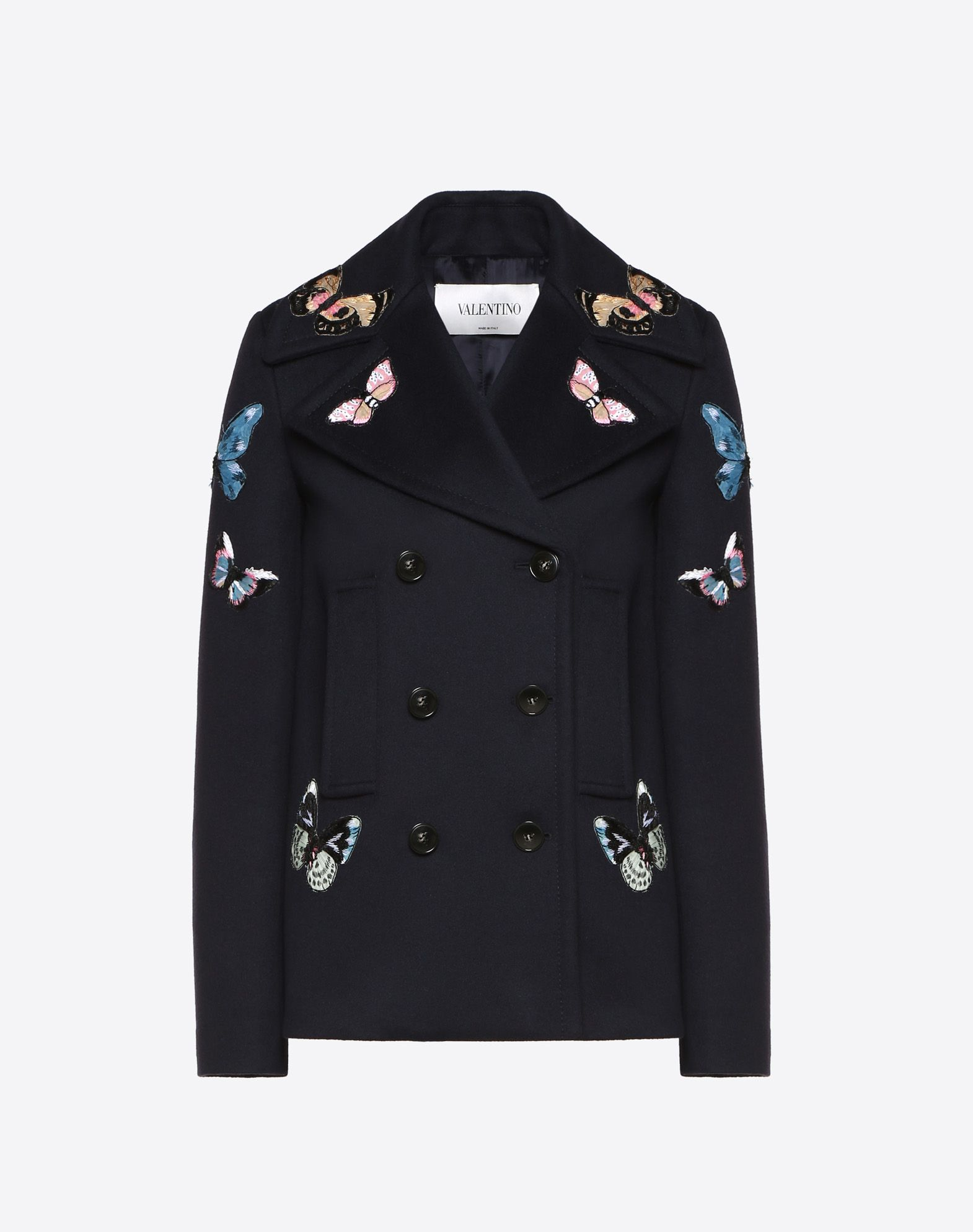 Light Double Drap Peacoat With Embroidered Butterflies