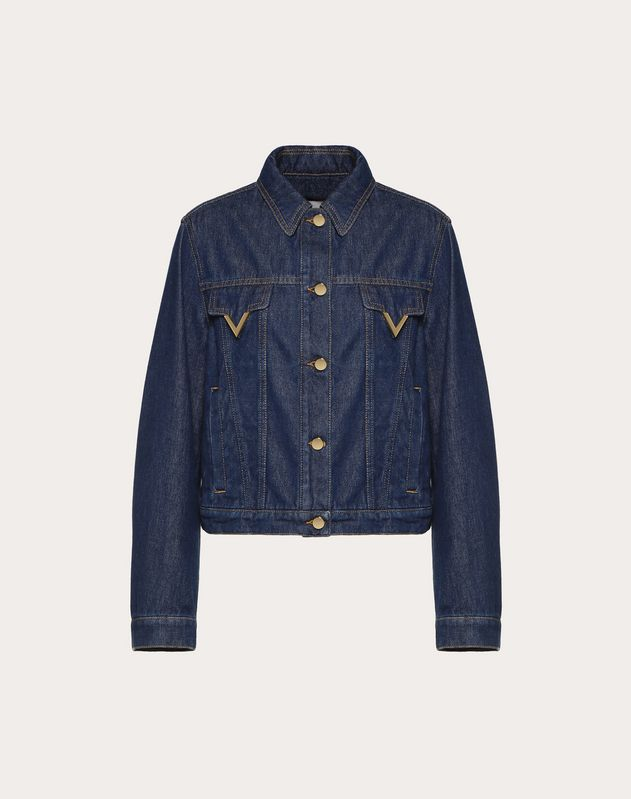 Blue Denim Jacket with Gold V Details