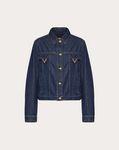 Blue Denim Jacket with Gold V Details