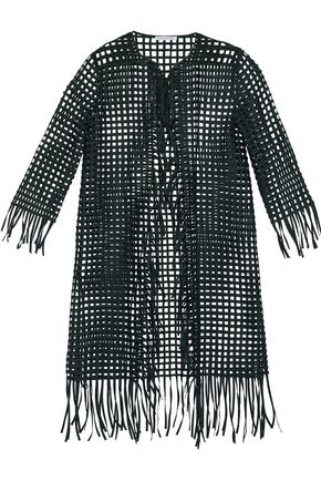 OSCAR DE LA RENTA Fringe-trimmed lattice sateen jacket