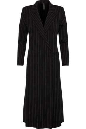 NORMA KAMALI Double-breasted pinstriped woven coat