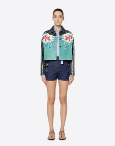 Hawaiian Hibiscus Embroidered Suede Jacket