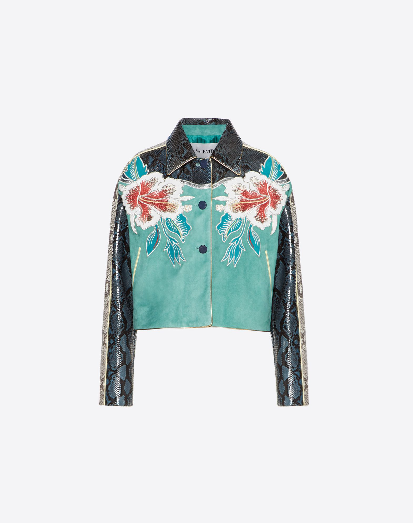Hawaiian Hibiscus Embroidered Suede Jacket