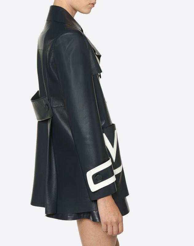 Chiffon Nappa Jacket with Embroidered V Logo