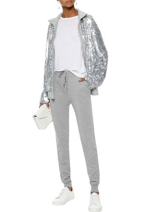 NORMA KAMALI Sequined tulle and cotton-jersey jacket