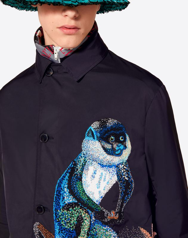 COAT WITH EMBROIDERED MONKEY