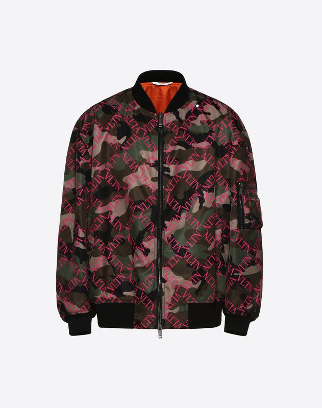 CAMOUFLAGE BLOUSON WITH VLTN GRID PRINT