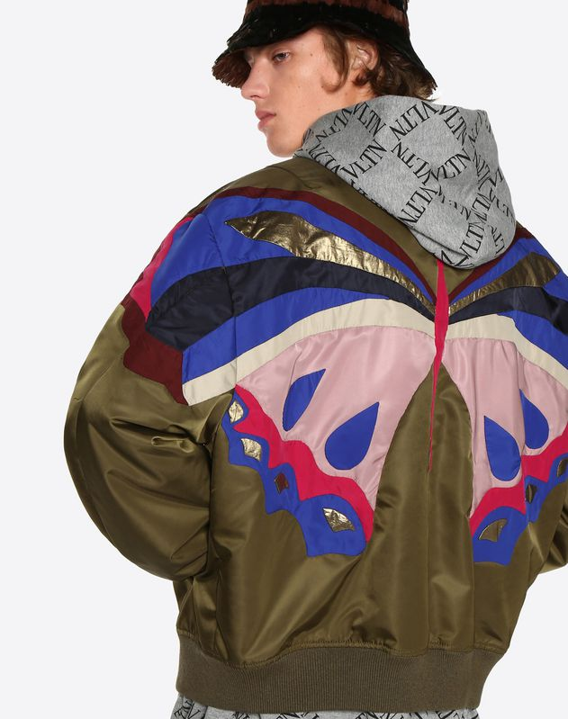 BLOUSON WITH BUTTERFLY INTARSIA