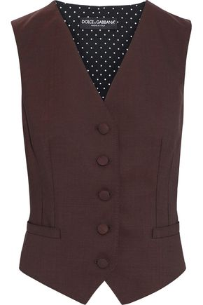 DOLCE & GABBANA Paneled polka-dot wool-blend vest