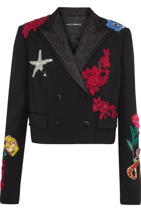 DOLCE & GABBANA Cropped appliquéd wool-blend blazer