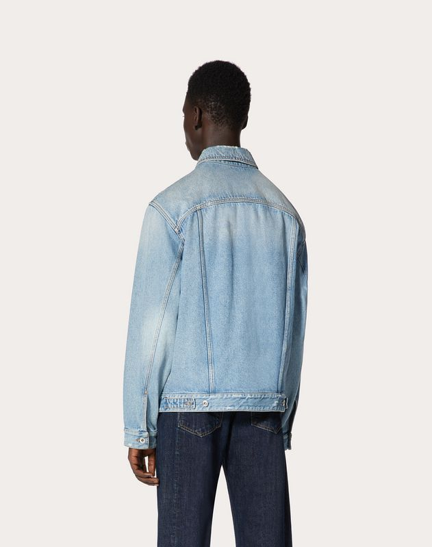 DENIM BLOUSON WITH MAXI VLOGO DETAIL