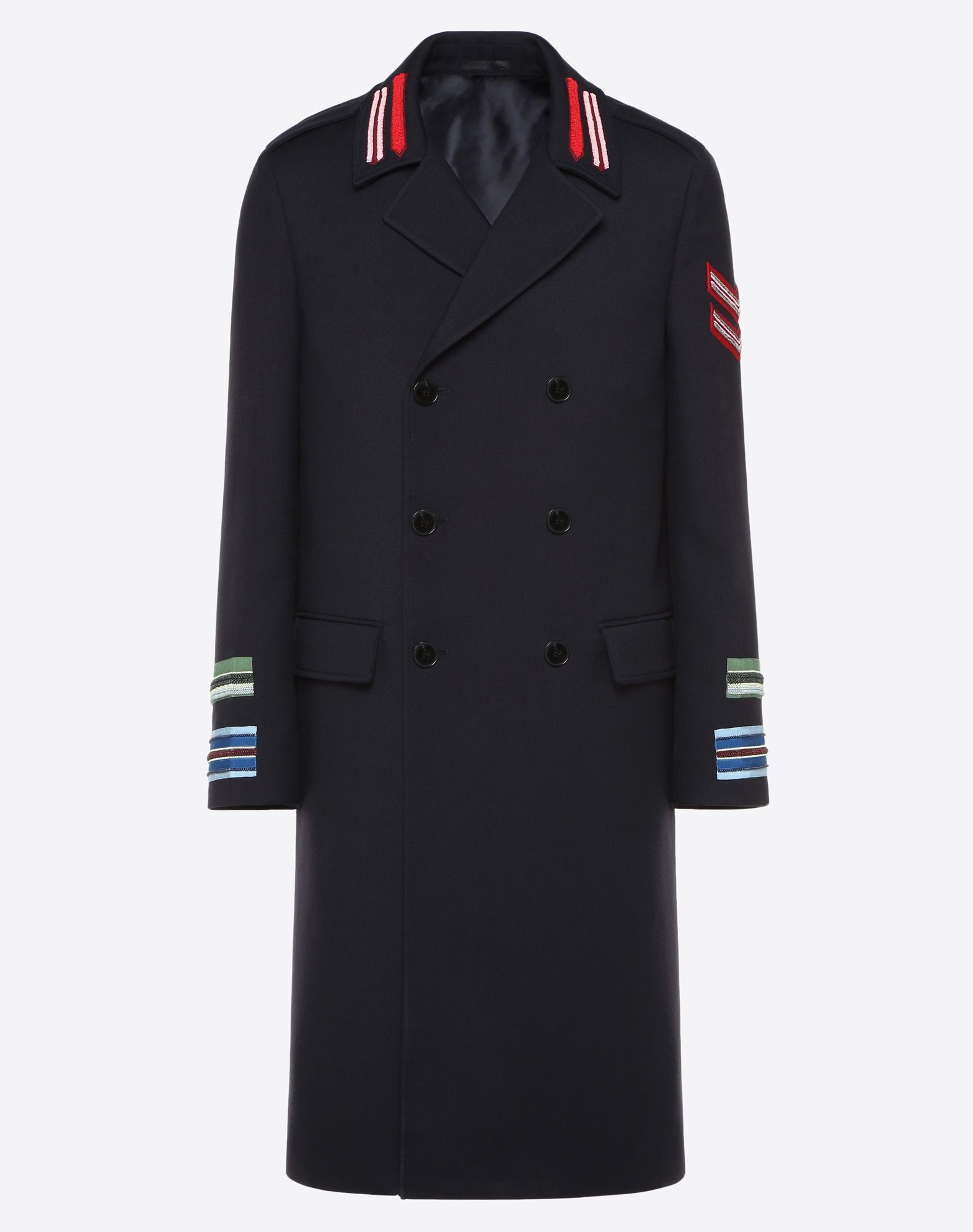 DOUBLE-BREASTED COAT WITH MARINE EMBROIDERY