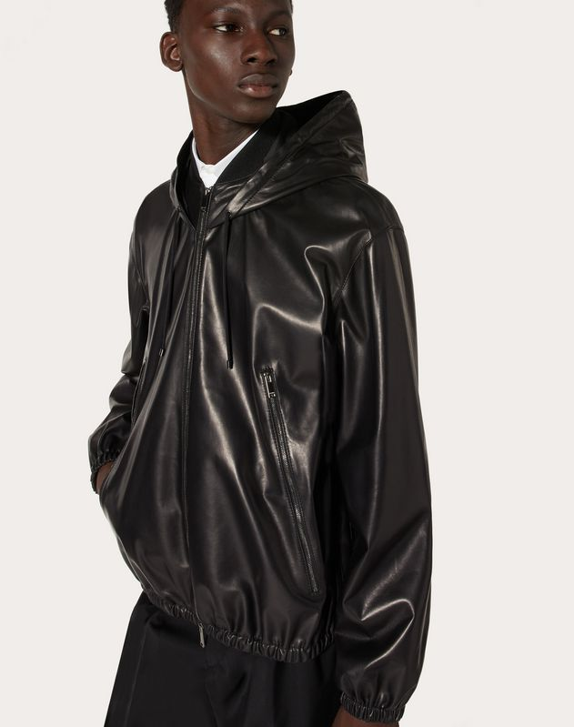HOODED LEATHER WINDBREAKER
