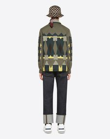 SAFARI JACKET WITH GEOMETRIC INTARSIA