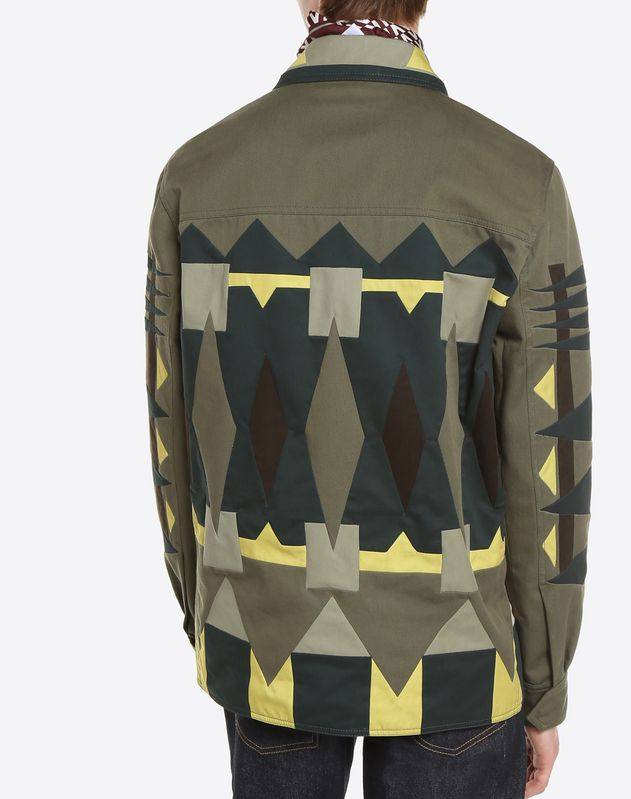 SAFARI JACKET WITH GEOMETRIC INLAY