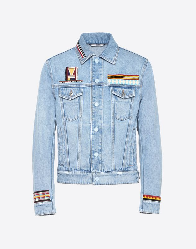 DENIM JACKET WITH GEOMETRIC EMBROIDERY