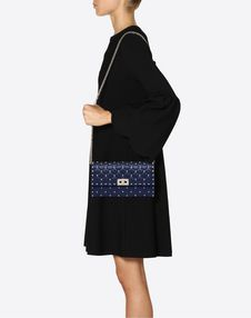 Rockstud Spike Nappa Leather Crossbody Clutch Bag