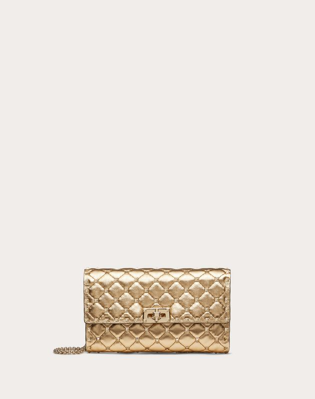 Metallic Rockstud Spike crossbody clutch