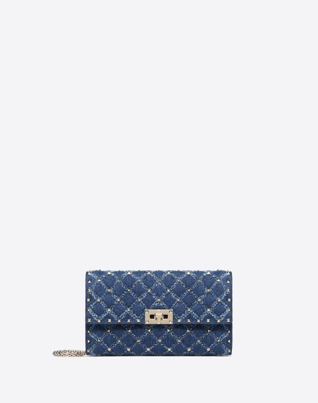 Denim Rockstud Spike crossbody clutch