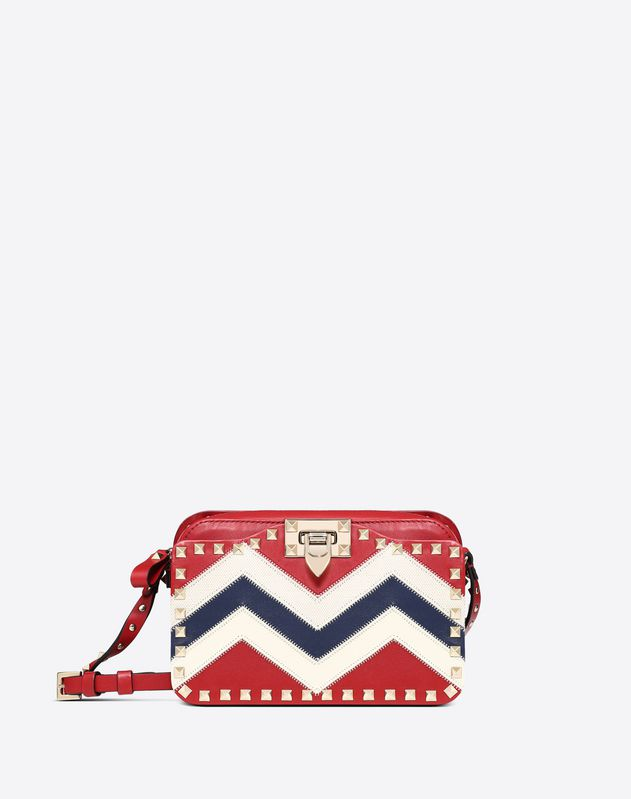 Small Chevron motif Rockstud crossbody bag