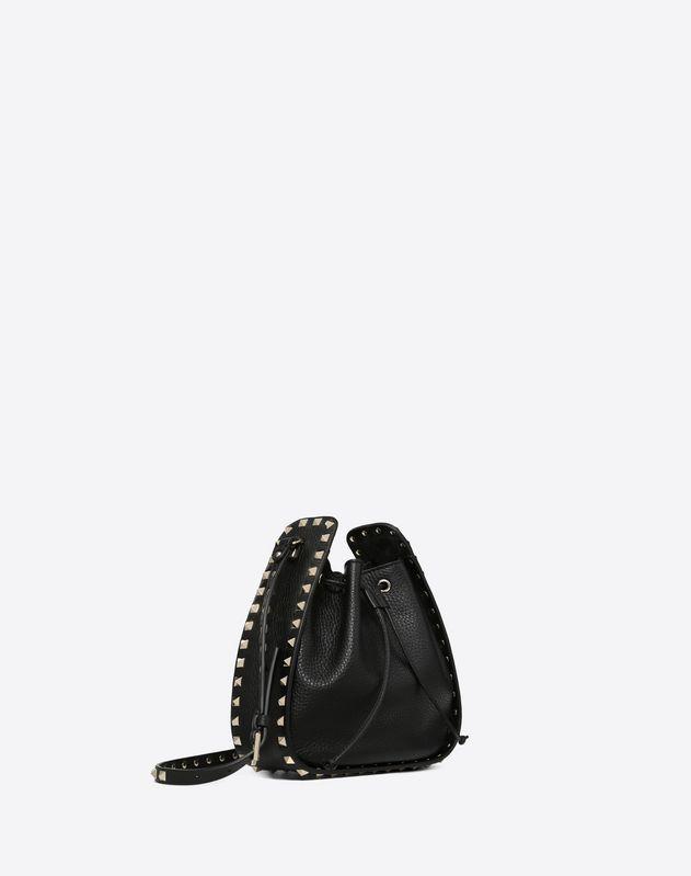 Small grain calfskin leather Rockstud Bucket bag