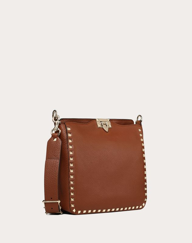Small grain calfskin leather Rockstud hobo bag