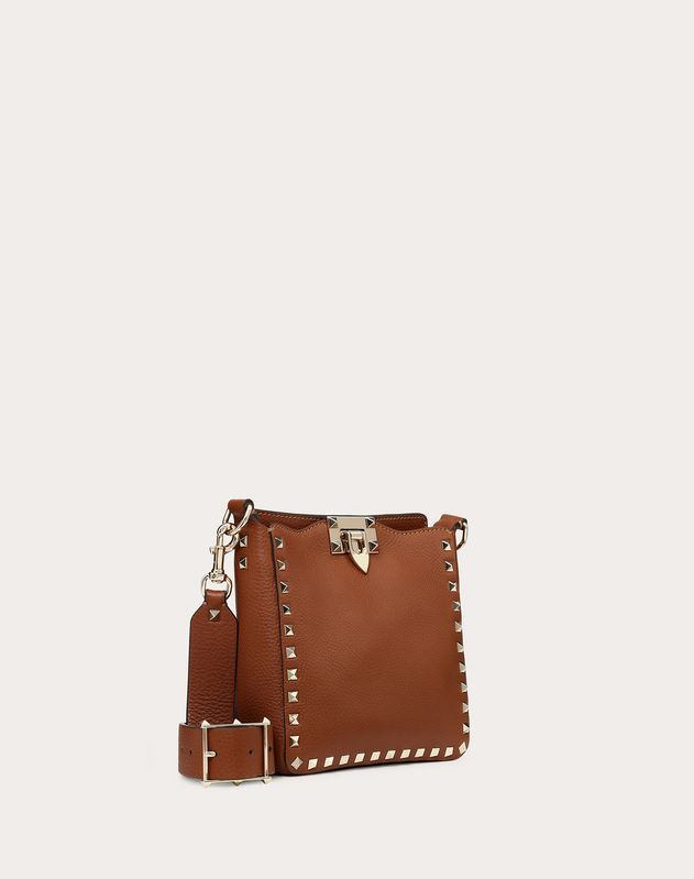 Mini grain calfskin leather hobo Rockstud bag