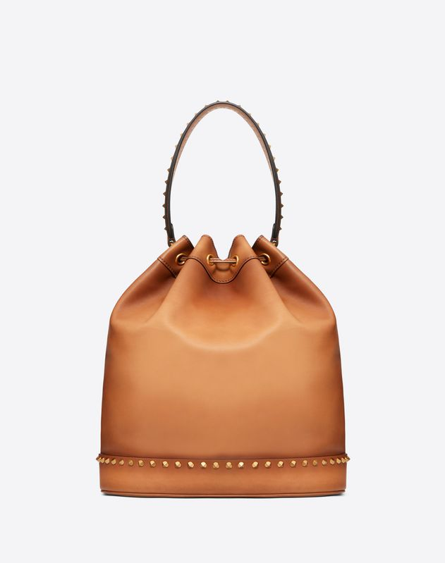 Large Burnished Calf Leather Twinkle Studs bucket bag