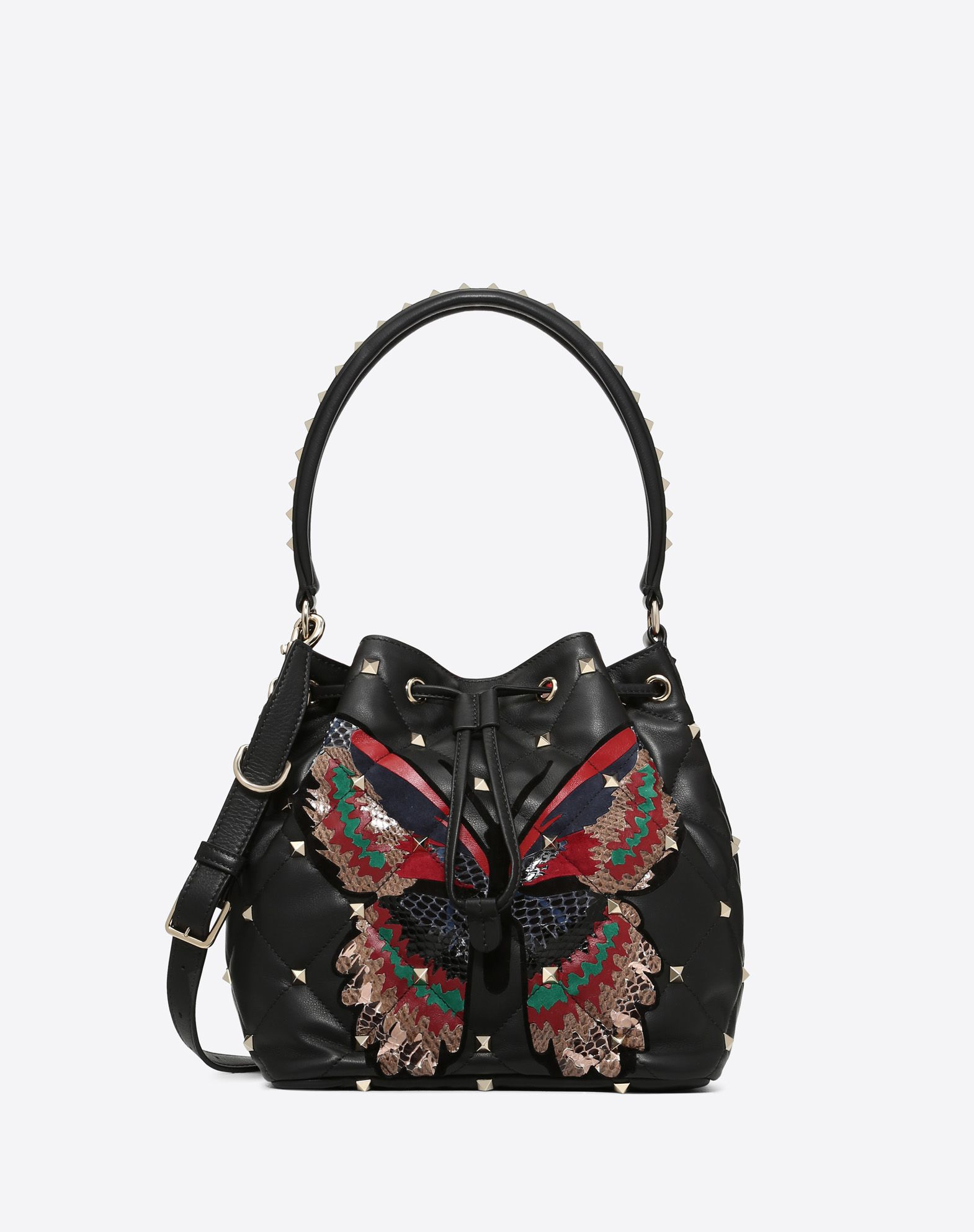 Quilted butterfly Boomstud bucket bag