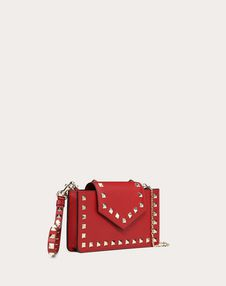 Rockstud Calfskin Phone Case with Chain Strap