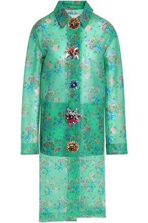 CHRISTOPHER KANE Embellished floral-print woven coat