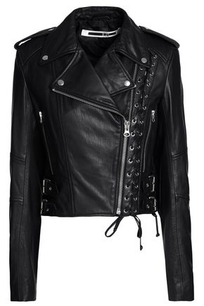 McQ Alexander McQueen Lace-up leather biker jacket