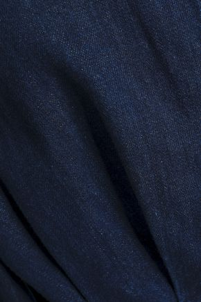 J.W.ANDERSON Cropped leather-appliquéd denim jacket