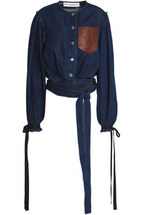 J.W.ANDERSON Cropped leather-appliquéd denim jacket