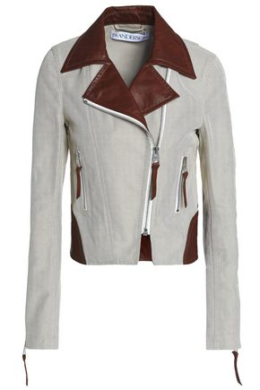 J.W.ANDERSON Leather-trimmed cotton-jacquard biker jacket