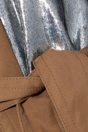 MAISON MARGIELA Lamé and striped poplin-paneled gabardine trench coat