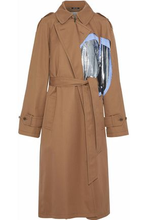 MAISON MARGIELA Lamé and striped poplin-paneled gabardine trench coat