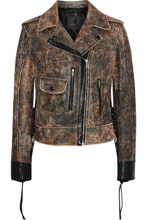 BELSTAFF Elmely lace-up cracked-leather biker jacket