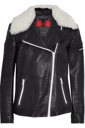 Belstaff BELSTAFF WOMAN ELLERSLIE SHEARLING-TRIMMED EMBROIDERED TEXTURED-LEATHER BIKER JACKET BLACK