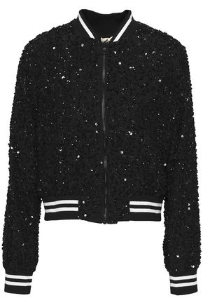 ALICE + OLIVIA Embellished silk bomber jacket