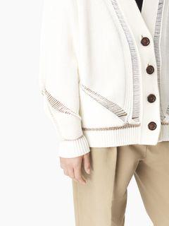 Cardigan en laine mérinos à jours échelle