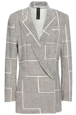 NORMA KAMALI Printed double-breasted stretch-jersey blazer