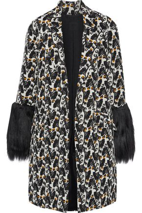 ANNA SUI Faux fur-paneled cotton-blend jacquard jacket