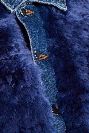L'AGENCE Carolina faux shearling-paneled denim jacket