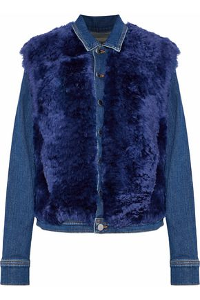 L'AGENCE Carolina faux shearling-paneled denim jacket
