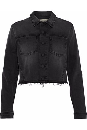L'AGENCE Zuma cropped sequin-embellished denim jacket