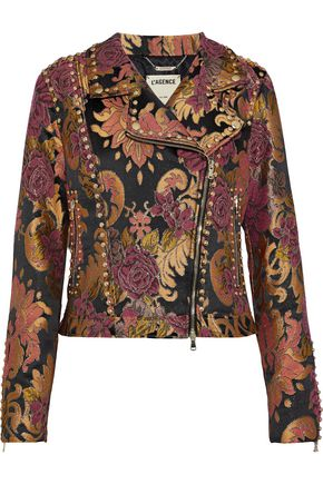 L'AGENCE Shoshanna studded brocade biker jacket