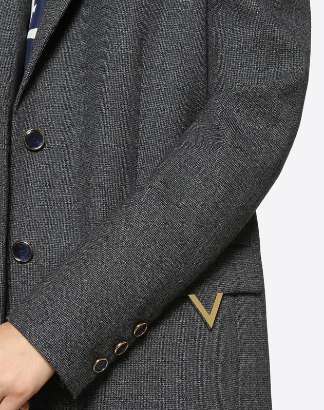Twisted Grisaille Blazer with Gold V Details